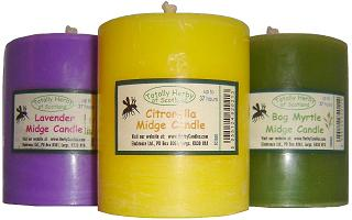 Midge candles made with citronella, lavender or bog myrtle essential oils