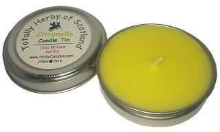 Midge candle in tin made with citronella, lavender or bog myrtle essential oils